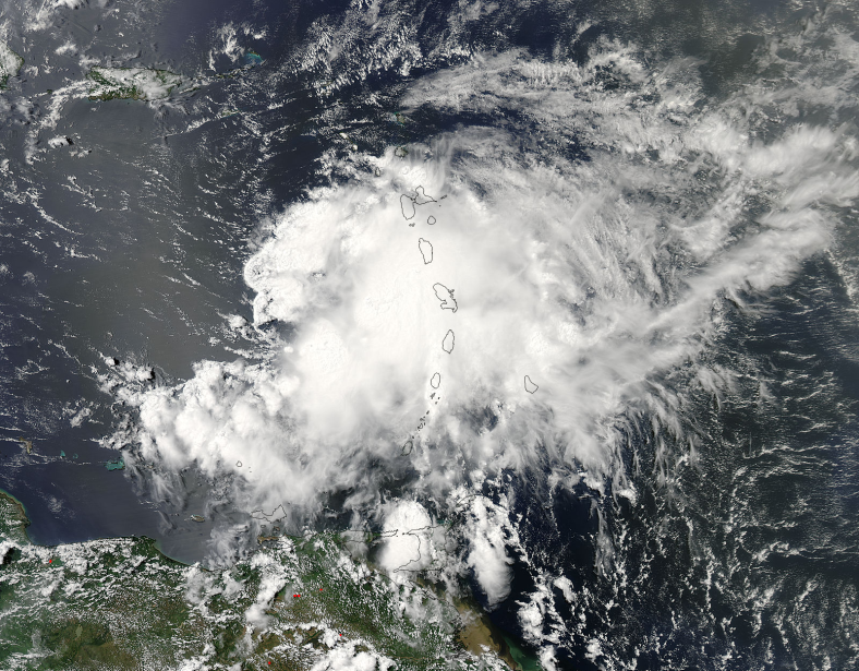 On July 10 at 17:40 UTC (1:40 p.m. EDT) the MODIS instrument aboard NASA's Terra satellite captured this stunning visible image of Tropical Storm Chantal over the Lesser Antilles. Image Credit: NASA Goddard MODIS Rapid Response