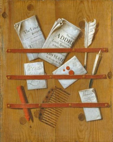 Edward_Collier's_painting_'Newspapers,_Letters_and_Writing_Implements_on_a_Wooden_Board'