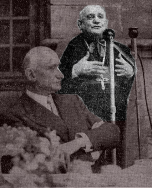 French Minister for Foreign Affairs Robert Schuman listening to Nunce Angelo Roncalli (later Pope John XXIII) at Luxeuil in July 1950. Creative Commons License by Dr Gilles Cugnier